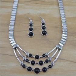 Parure bijoux argent - Noire