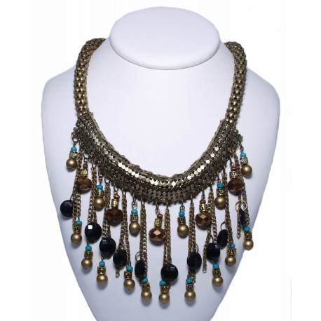 Collier ethnique pampilles et perles multicolores