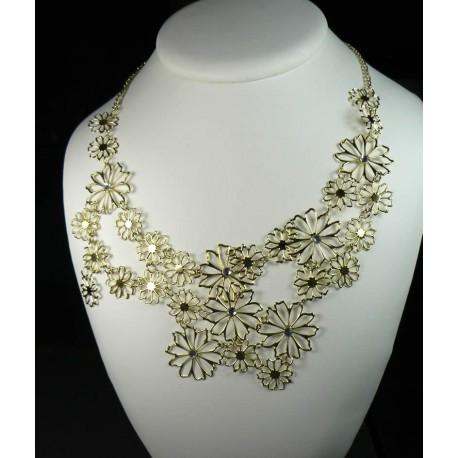 Collier fleurs dorées