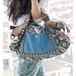 Grand sac à main bohème bleu
