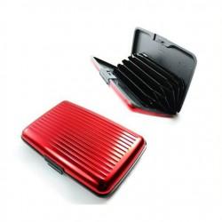 Porte cartes aluminium boitier rouge