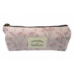 Trousse maquillage rose fleurs sac à main