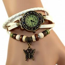 Petite montre femme cuir blanc breloque papillon