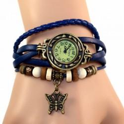 Petite montre femme cuir bleu breloque papillon
