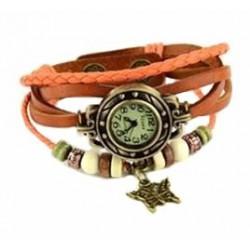 Petite montre femme cuir orange breloque papillon