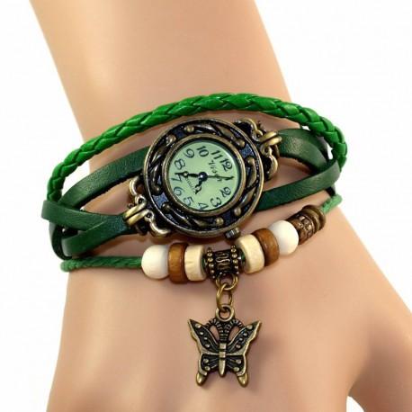 Petite montre femme cuir vert breloque papillon