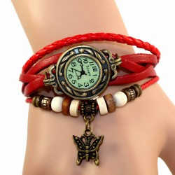 Petite montre femme cuir rouge breloque papillon
