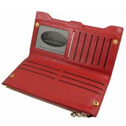 Portefeuille long cuir rouge pour femme