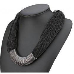 Collier noir textile et métal argenté