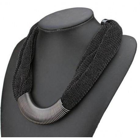 Collier fantaisie textile noir et métal argenté