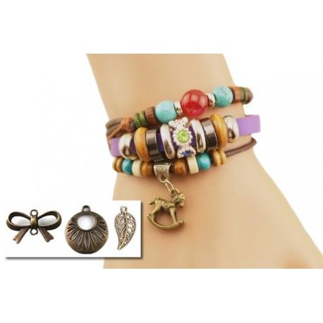 Bracelet textile bohème et perles multicolore