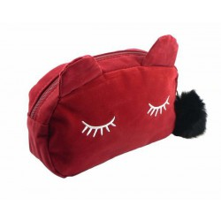 Trousse chat Rouge velours