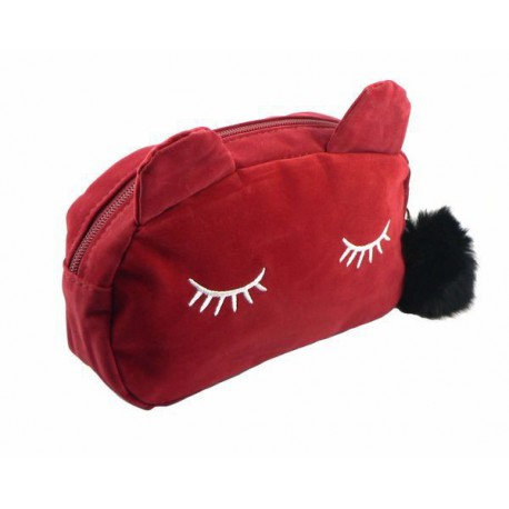 Trousse chat velours Rouge