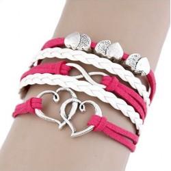 Bracelet multi liens rose et blanc coeur