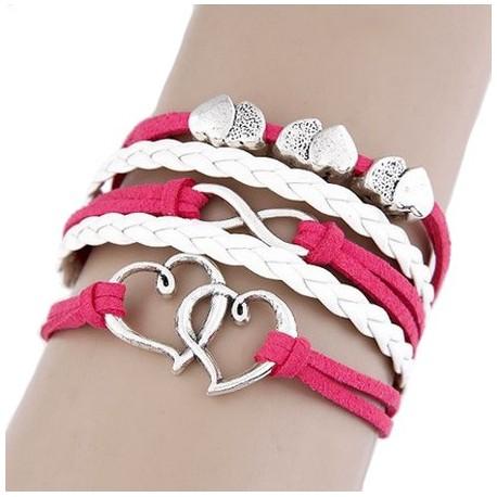 Bracelets multiliens rose et blanc coeur et infini