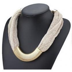 Collier doré textile métallisé