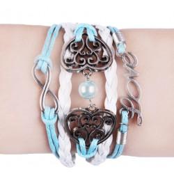 """Bracelet bleu et blanc """"Love"""" et coeurs"""