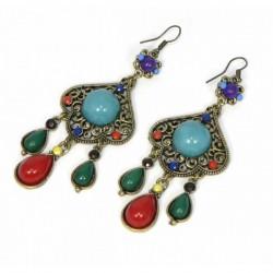 Boucles d'oreilles indiennes colorées