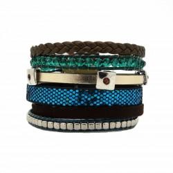 Bracelet manchette strass bleu type brésilien