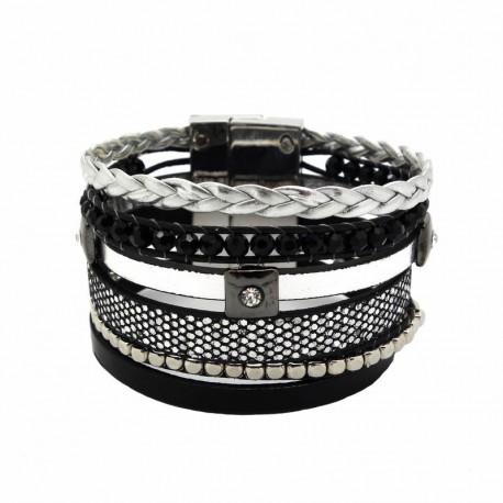 Bracelet manchette strass argent type brésilien