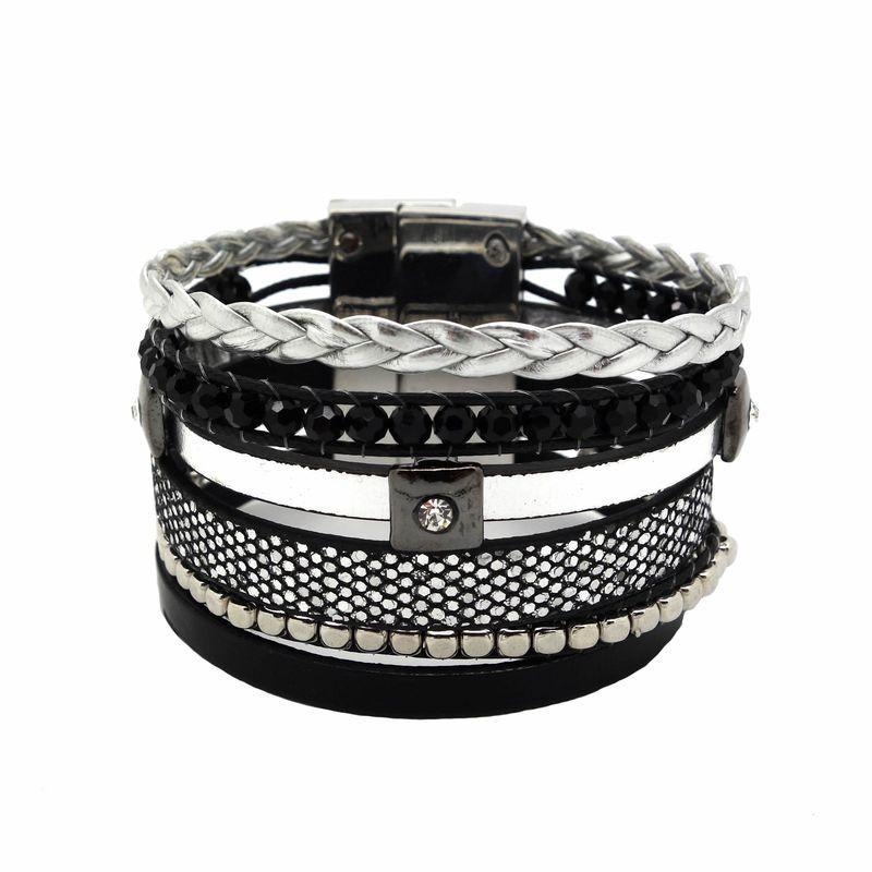 bracelet manchette strass noir type br silien. Black Bedroom Furniture Sets. Home Design Ideas