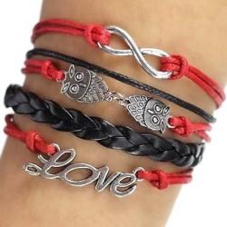 """Bracelet multi liens rouge et noir """"Love"""""""
