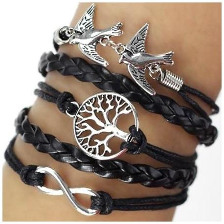 Bracelet multi liens noir nature arbre oiseaux
