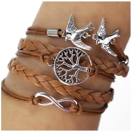 Bracelet multi liens marron nature arbre oiseaux