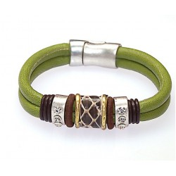 Bracelet bohème cordons verts
