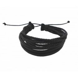 Bracelet cuir noir et cordons