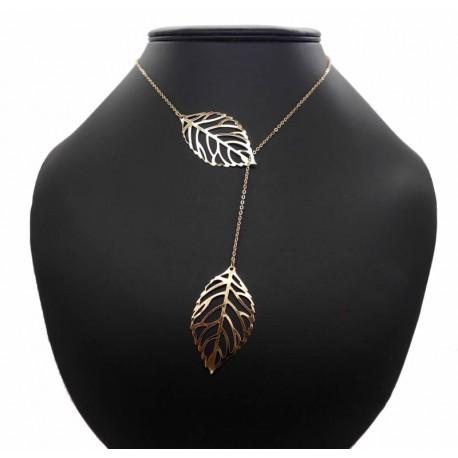 collier doré feuilles coulissantes