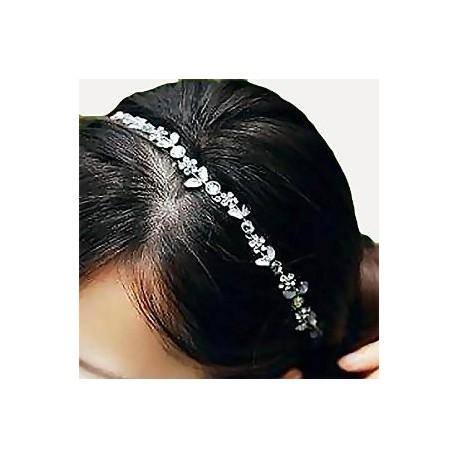 Headband strass fleurs blanches
