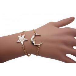 Double bracelet lune et étoile