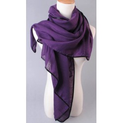 Foulard long violet liseré noir