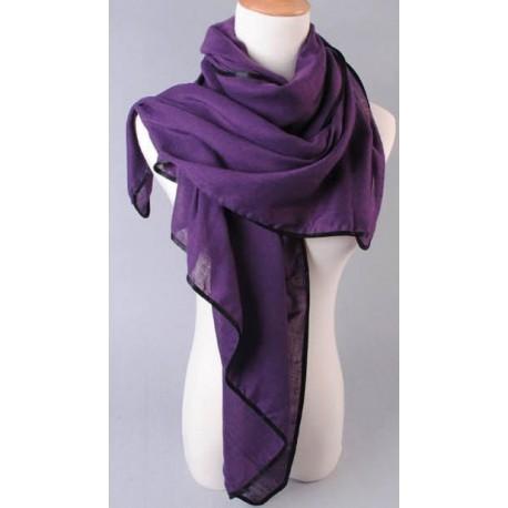 foulard long violet liseret noir chic