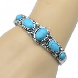Bracelet argent vieilli et turquoise
