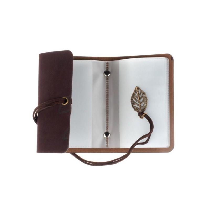 Porte cartes de fid lit marron motifs feuilles for Porte carte de fidelite