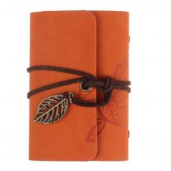 Porte cartes de fidélité orange motif feuilles cuir