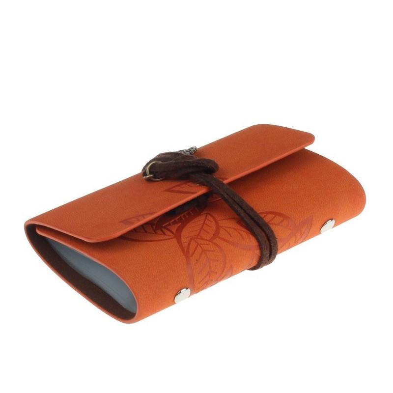 Porte Cartes De Fidelite Orange Decoration Feuilles
