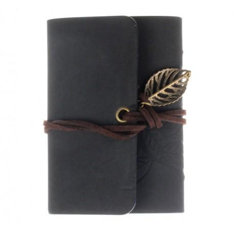 Porte cartes de fidélité gris feuilles