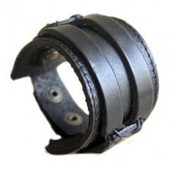 Bracelet de force cuir noir