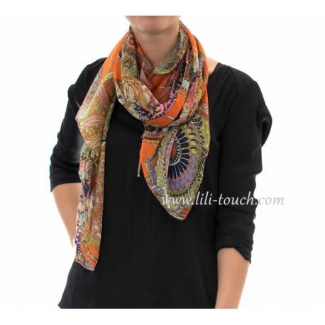Foulard léger multicolore Orange