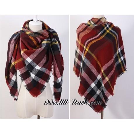 Grand foulard tartan bordeaux et rouge