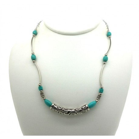 Collier fin turquoise