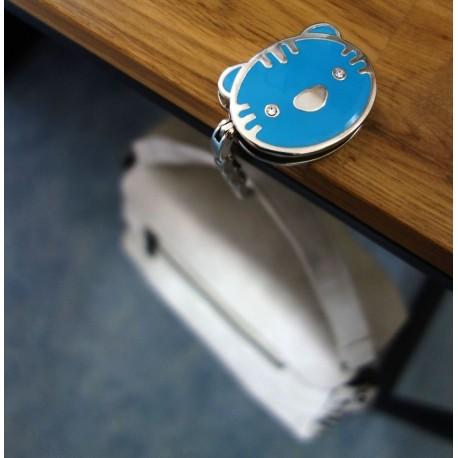 Accroche sac chat bleu