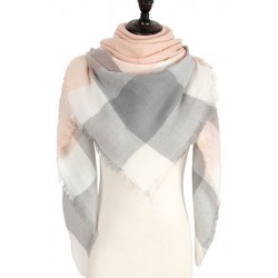 Grand foulard tartan gris et rose