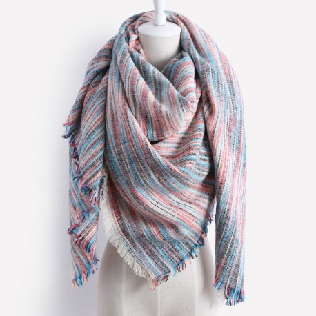 Grand foulard plaid rose bleu