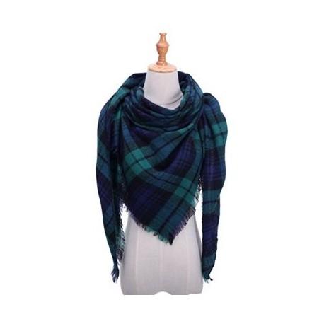 Grand foulard tartan bleu marine et vert