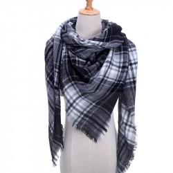 Grand foulard tartan noir et blanc