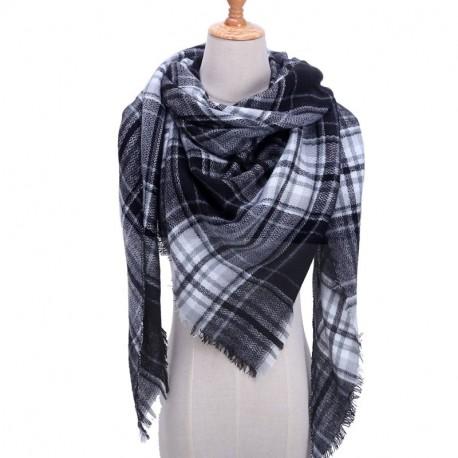 725fea2200b grand foulard plaid pashmina laine cachemire femme hiver noir et blanc